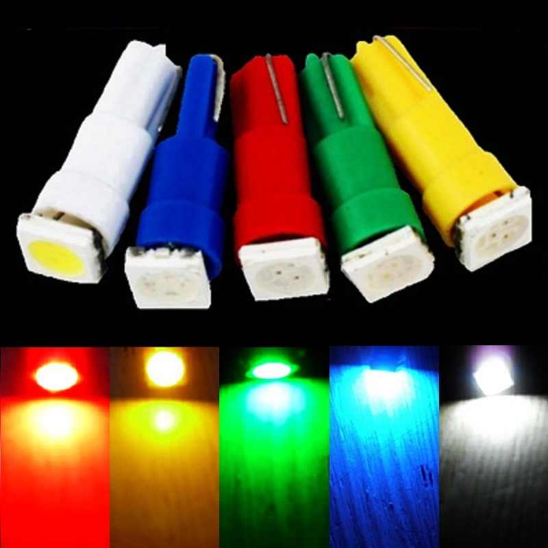 10pcs T5 W3W W1.2W 5050 SMD LED Car Wedge Side Bulb Dashboard Warming Indicator Light Auto Board Instrument Panel Lamp 10X