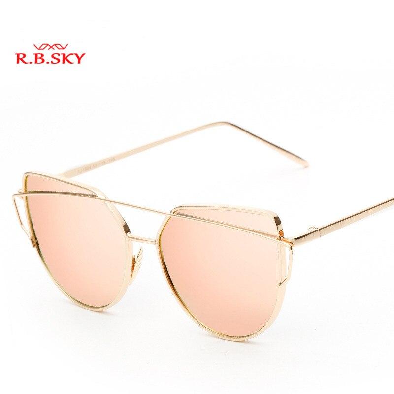 R.B.SKY Fashion Women Cat Eye Sunglasses Classic Brand Designer Twin-Beams Sunglasses Co ...