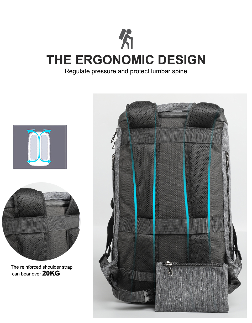2019 Male Travel Backpack with ergonomic design, regulate pressure and protect lumbar spine