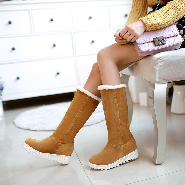 2017 Winter Boots Big Size 34-43 Womens Shoes Gladiator Winter Snow Boots Fashion High Long Low Heel Marti Ladieskeep Warm 583