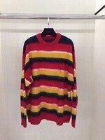 2018 Новое поступление осень и зима Для женщин свитер с круглым вырезом с длинными рукавами в стиле ретро в радужную полоску Свободный пулове