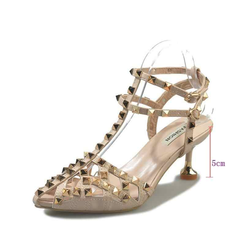 2019 zomer wees stiletto meisje hoge hak sandalen vrouwen schoenen Mode sexy studded strap Romeinse sandalen Klinknagel vrouwen schoenen