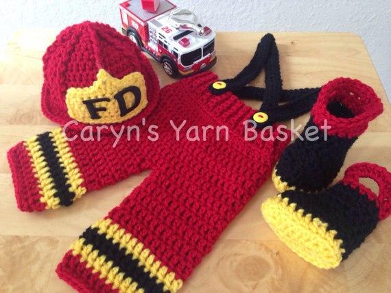 ᗑ】Envío libre del bebé bombero sombrero rojo traje, pantalón rojo ...