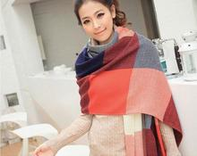 Free Shipping Lady Women Winter Tartan Checked Plaid Grid Shawl Scarf Wrap