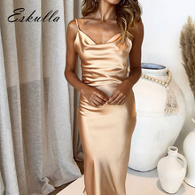 Eskulla Outdoor Casual Women Slim Sexy Backless Long Dress Solid Spaghetti Strap Strapless Feast party Womens clothing