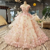 Elegant Pink Lace Princess Wedding Dresses 2020 African Black Girls Flowers Lace up Sheer Neck Puffy Ball Gowns Bridal Gowns