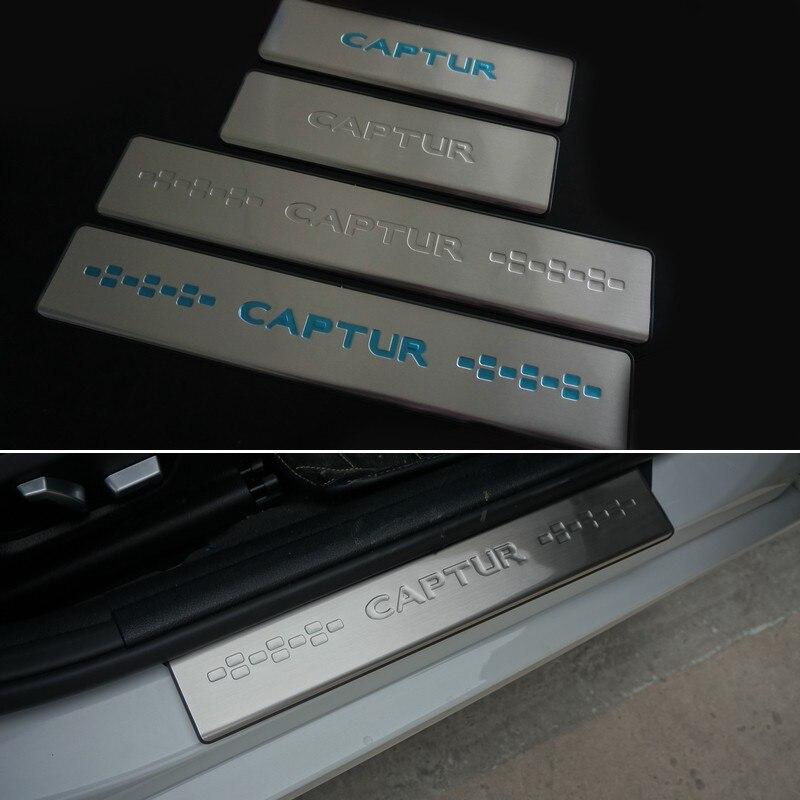 Pro Doplňky Renault Captur Dveřní prahové lišty Ochranná deska z nerezové prahové lišty Pedál Krycí štítek pro auto Styling 2015 2016 2019