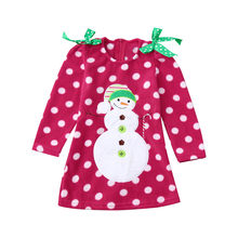 New Spring Autumn Baby Girls Clothing Christmas Children Kids Baby Girls Long Sleeves Cartoon Snowman Print Dress dropshipping(China)