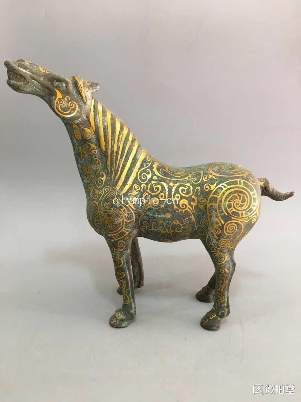 12 collezione di Bronzo di cinese Ware bronzo intarsio in oro un cavallo statua12 collezione di Bronzo di cinese Ware bronzo intarsio in oro un cavallo statua