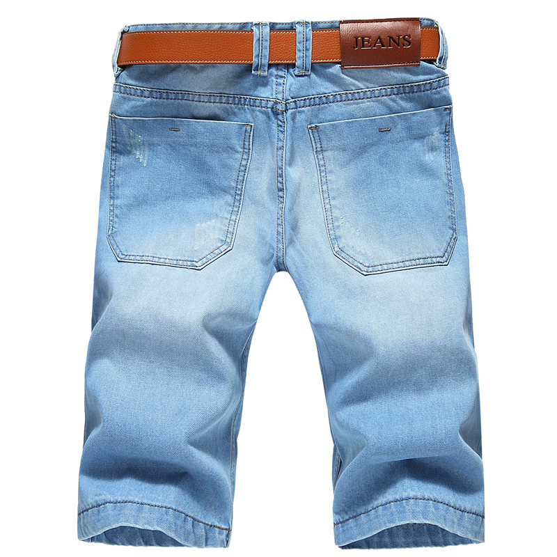Large Size Men Holes Denim Shorts Male Short Jeans  2019 New Summer Casual Light Blue Short Jeans Short Pants Size 42 No Belt