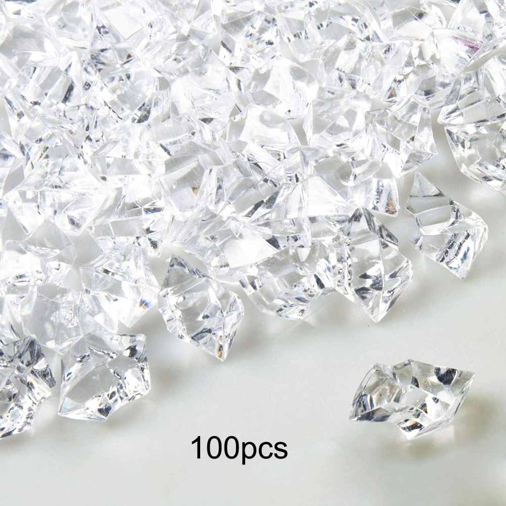 100pcs Clear Fake Ice Cubes Reusable Artificial Acrylic Crystal Cubes Whisky Drink Display Photography Props Wedding Party Decor