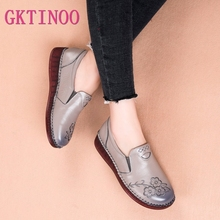 Flat Shoe Moccasins Flower Embroider-Flats Slip On Female Genuine-Leather Casual Pregnant-Women