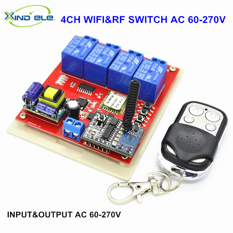 INPUT 110V 220V 4CH Channel WIFI Switch OUTPUT 220V 433mhz RF Wireless Remote Switches Relay Control by Phone APP