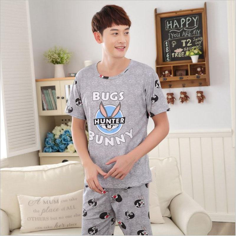 MISSKY Pajama-Sets Sleepwear Milk-Silk Male Cartoon Summer Cute for Breathable Men Lovers title=