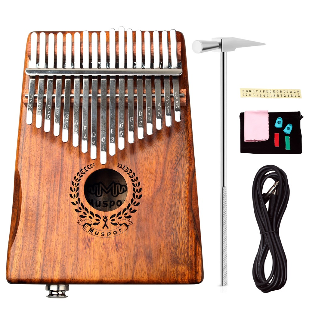 Marque Nouveau 17 Touches EQ Kalimba Mbira Calimba Solide Acacia Piano à pouces Lien Haut-Parleur Électrique Ramassage avec Sac + 3 m Câble - 2