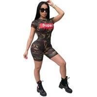 Summer 2018 Women Rompers Disruptive Pattern Print Casual Jumpsuit Female Short Slevee Skinny Playsuits OSM SJ3092