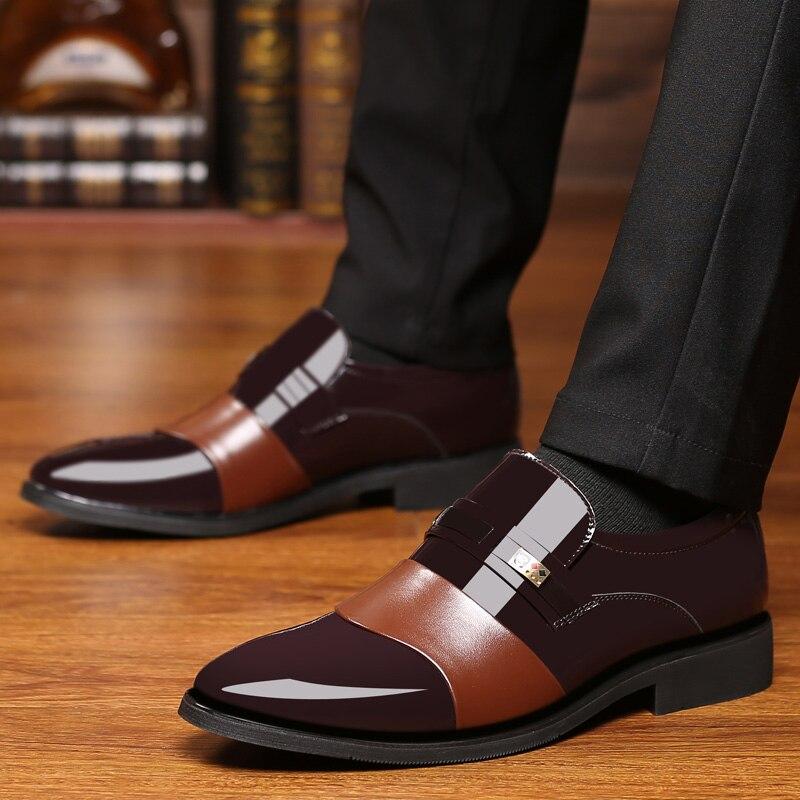 Chaussures habillées pour hommes en cuir sans lacet belle classique marron noir chaussure homme élégant fête mariage et affaires bureau chaussures formelles pour hommes - 3