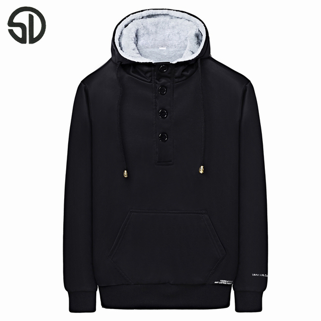 2017 New Arrival Men's Fashion Solid Thick Warm Hooded Casual Hooded Winter Wear Long-sleeved Hooded Jacket Plus Velvet