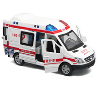 Special Political Car Model Alloy Car Simulation 120 Ambulance Model Sound and Light Pull Back Children's Educational Toy Car