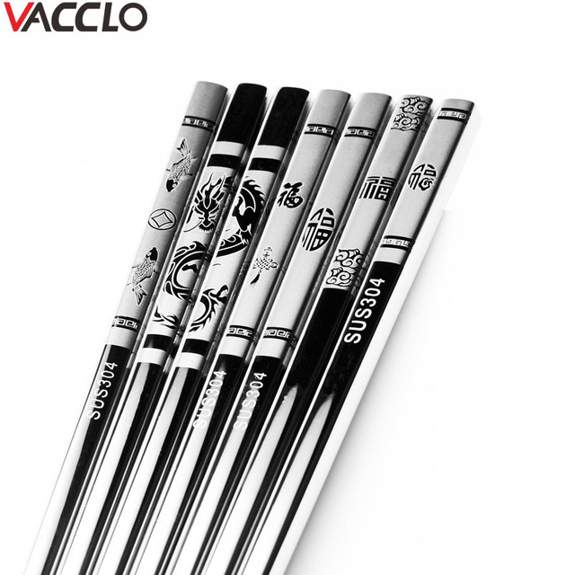 Vacclo 1pair Stainless Steel Anti Skid Dragon Chopsticks Sushi Metal Iron Portable Chinese Healthy Food stick Tableware