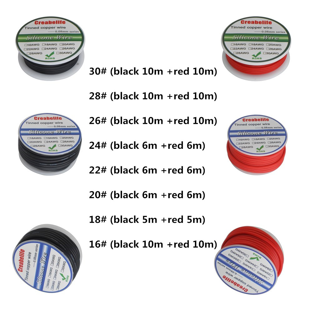 Negro + rojo colores del alambre de 16AWG 22AWG 24AWG 26AWG 28AWG 30AWG blando y resistente al calor de silicona de alambre de Gel de sílice Cable paquete en rollo 6,3 enchufe plano de púas resorte terminal frío cableado enchufe de codo primavera