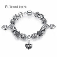 Silver Plated Beads Bracelets Bangles Women Heart Crown Charms Bracelet For Female Diy Jewelry PA1467