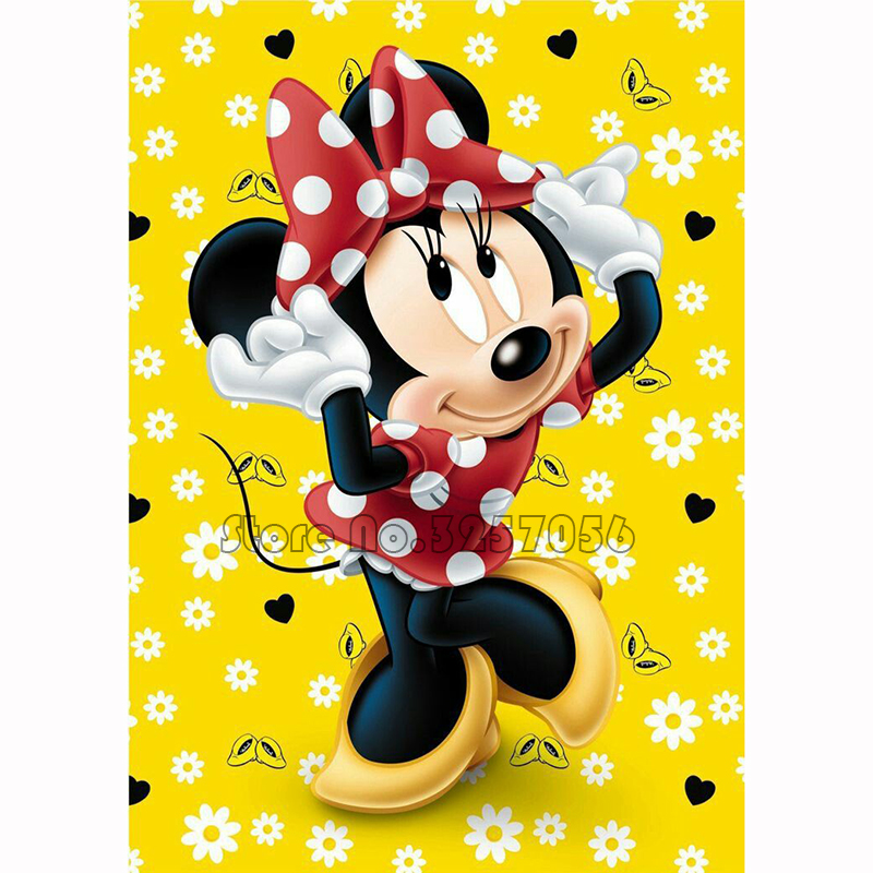 5D DIY Diamond Painting Cartoon Minnie Full Round Diamond Embroidery Cross Stitch Rhinestones Mosaic Needlework Home Decoration in Diamond Painting Cross Stitch from Home Garden