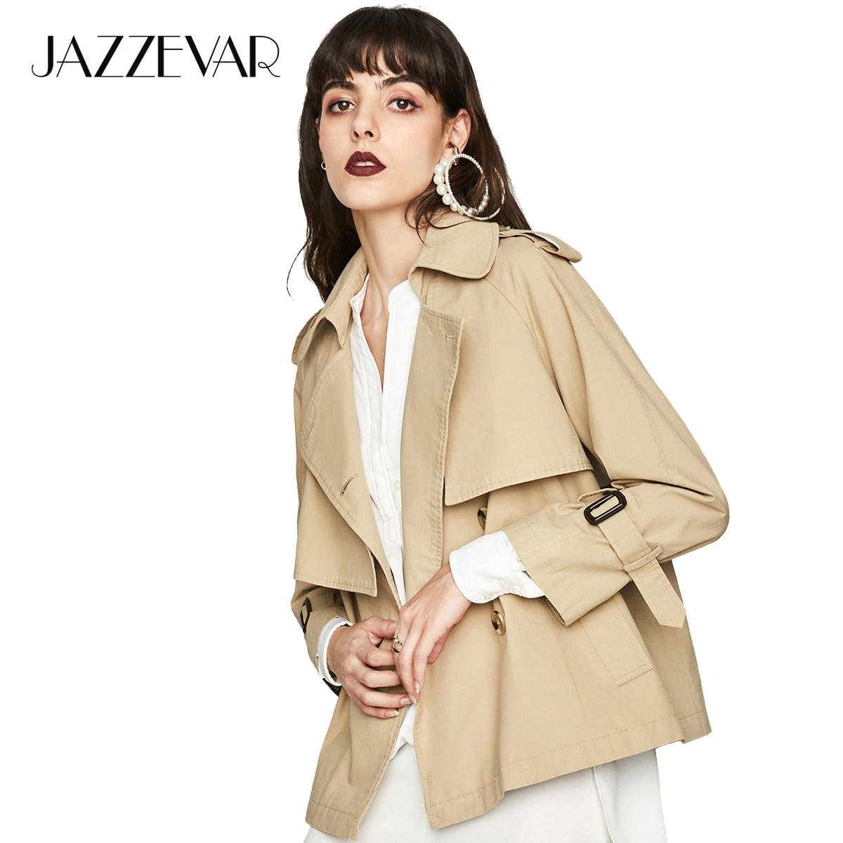 JAZZEVAR 2019 New Autumn Fashion Casual Women s Cotton Washed Double Breasted Jacket Short Loose Clothing