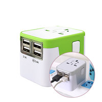 New Color 4 USB Port All In One Universal International Plug Adapter World Travel AC Power