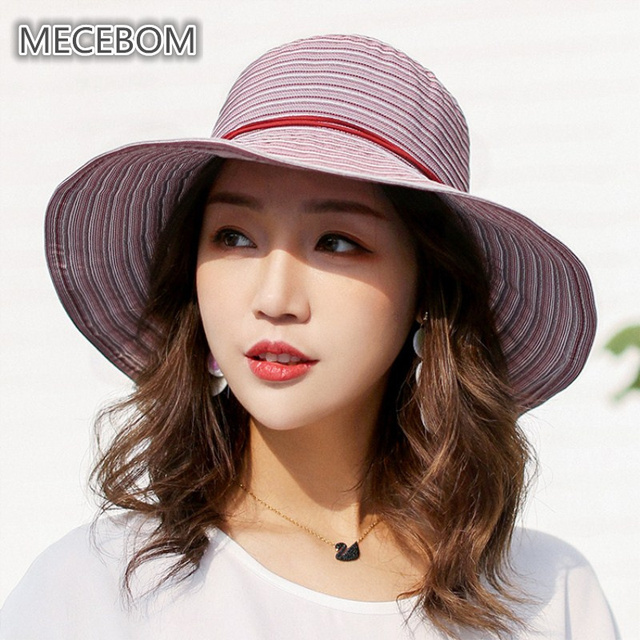 Bohemian Style High Quality Summer Sun Hats For Lady Striped Large Visors Sun  Hats Women Beach b533aabfec2