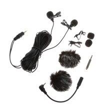 Przenośny 6 m/19.68ft dwugłowicowy mikrofon krawatowy profesjonalny kondensator dźwięku Audio z kołnierzykiem z klapami Mic Clip on Lavalier Mic Wired