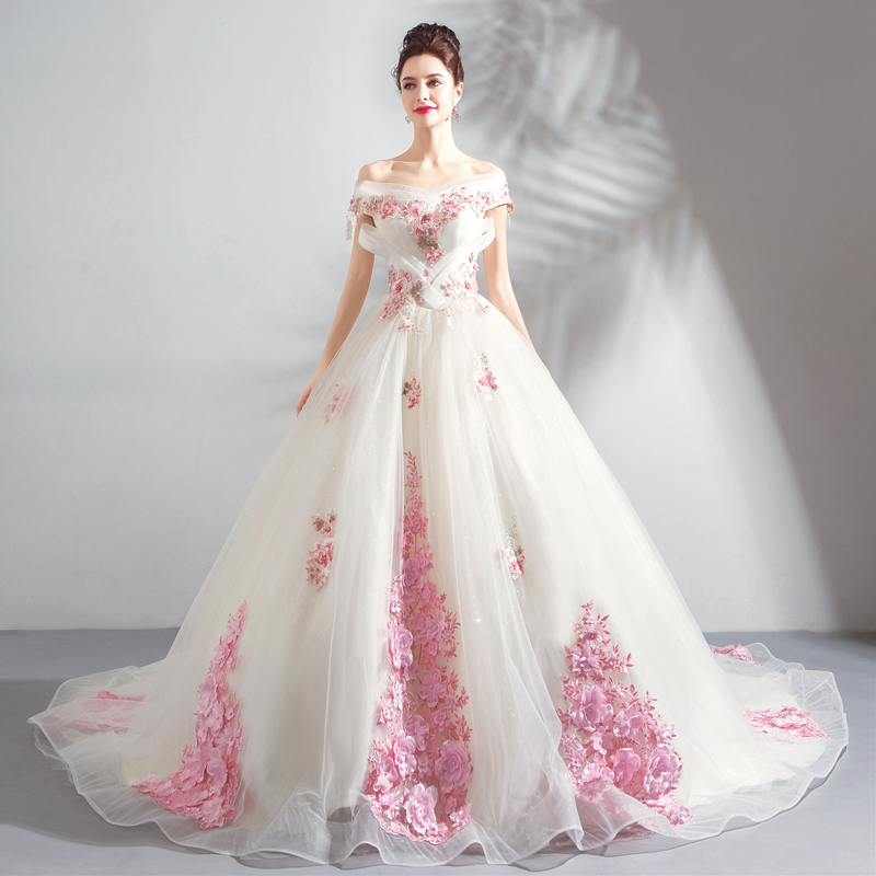 2019 New China Off the Shoulder Luxury Wedding Dress Princess 3D Flower Lace Up With Chapel Train Wedding Gown Robe De Mariee