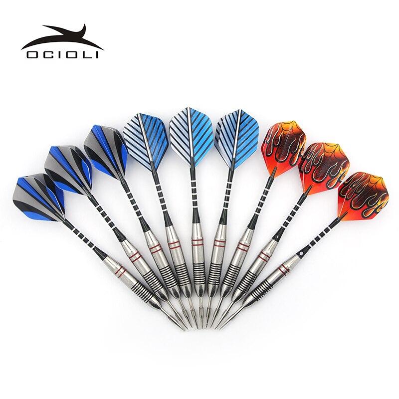 3 cor 9 pçs/sets de dardos profissional 22g aço ponta dardo com eixos de alumínio agradável dardo voos alta qualidade
