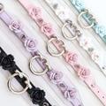 Kawaii Harajuku Handmade Punk Goth Gran Flor de Rose Collar De Pinchos O Ronda Transparente de Vinilo PVC Transparente Collar de Gargantilla de Cuero