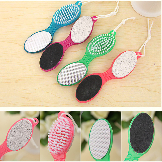 4 in 1 Foot Care Callus Brush Pumice Grinding Feet Stone Scrubber Pedicure Exfoliate Remover Double-end Cleaning Dust Dead Skin