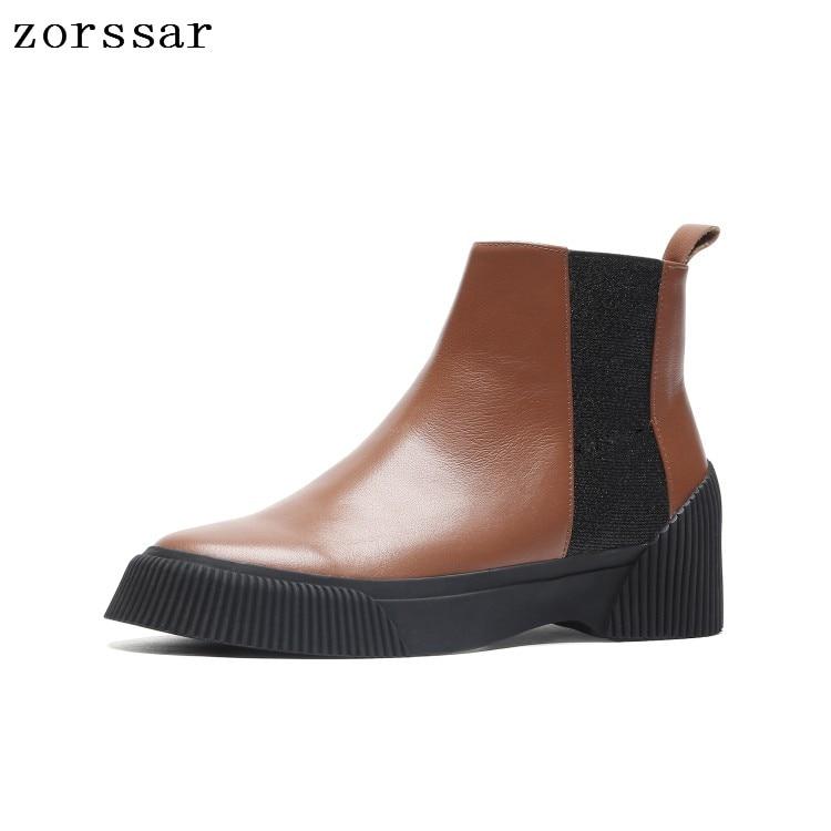 Chaussures Noir forme Cuir Femmes Plat Dames Bottes Cheville Automne 2018 Hiver {zorssar} Chelsea En Mode Véritable Plate marron 5aW1OUzw0