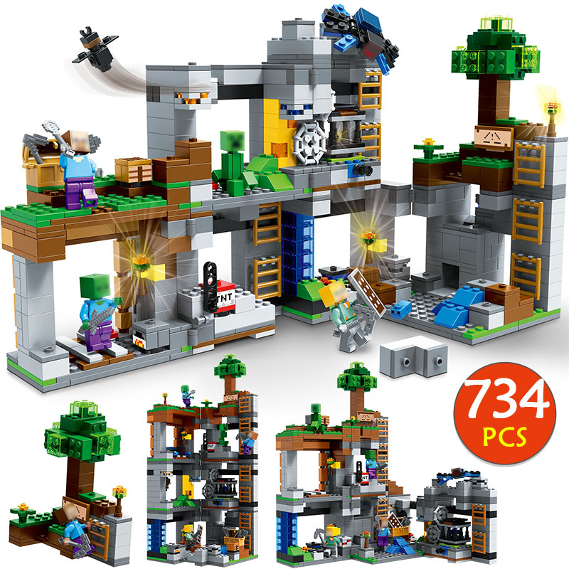 My World Rock Bottom Adevnture Building Blocks Compatible Legoingly Minecrafted 21147 Steve Figures Bricks Toys for children 1128pcs minecrafted classic forest manor compatible legoingly my world city figures building blocks bricks kids toys gifts