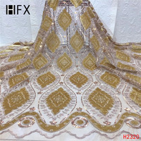 HFX African Gold Lace Fabric Sequin Embroidery Velvet Tulle Lace French Latest Nigerian High Quality Wedding Lace Fabric X2320