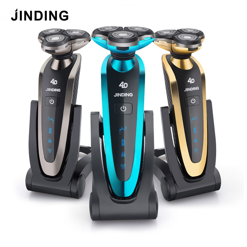 JINDING Electric Shaver for Men Washable 3D Floating Head Rechargeable Shaving Machine Beard Portable Fast Charge Triple Blade jinding gold plated electric shaver gold rechargeable shaver 3d float triple blade electric head trimmer waterproof men shaver