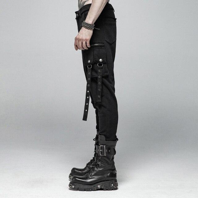 PUNK RAVE Men's Punk Rock Black Knit Trousers Gothic Military Casual Big Pocket Long Punk Cross Visual Kei Men Pants Streetwear 2