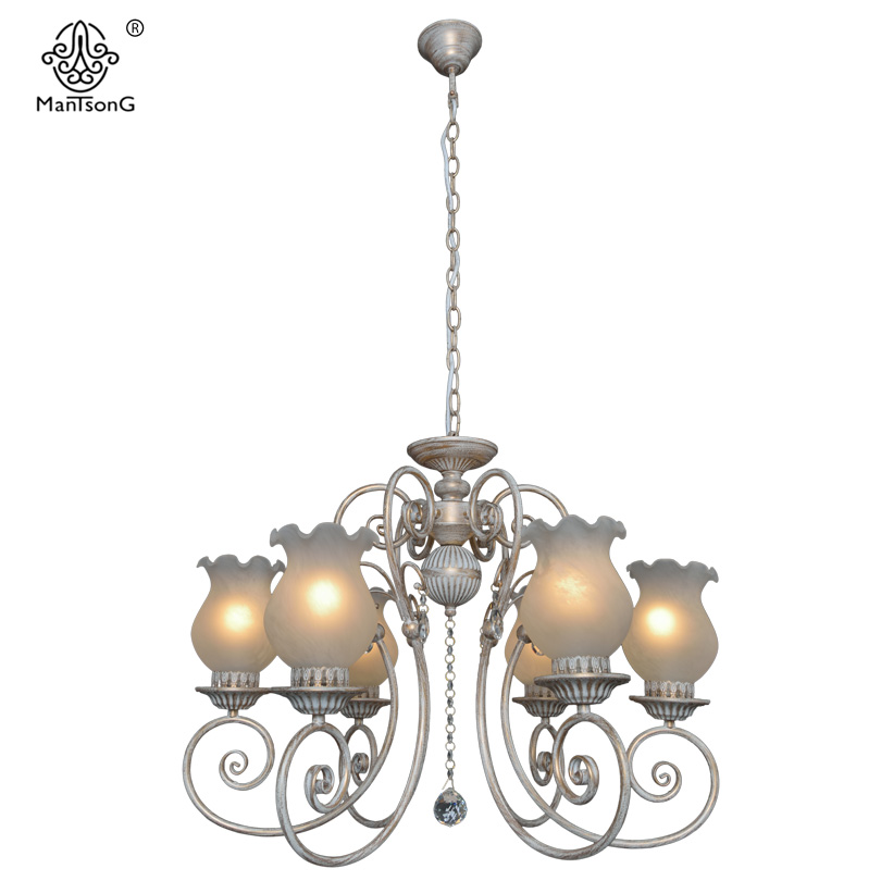 New White Crystal Pendants Chandeliers Lights Vintage Pendant Lamp for Bedroom Living Room Europe Flower Lampshade  Home Lights white crystal pendants chandeliers lights vintage pendant lamp for living room bedroom europe style pendant lamps home lighting