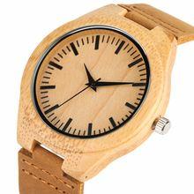 Бамбуковые деревянные часы с ремешком из натуральной кожи Креативные