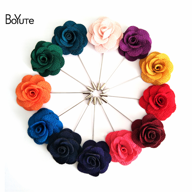 BoYuTe 5Pcs 22 Colors High Quality Camellia Flower Lapel Pin Brooch Men Fashion Wedding Boutonniere