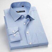 Классический стиль, мужские классические деловые рубашки, простой уход, Брендовые мужские рубашки с длинным рукавом, рубашки для офиса, одежда для мужчин