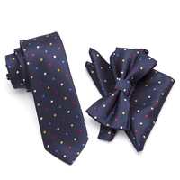 20 Style Neck Tie Bowtie Cravat Set,Skinny Tie Set, Pocket Square Set,Men Necktie,Wedding Ties,Polyester Black Dot Fashion Mens