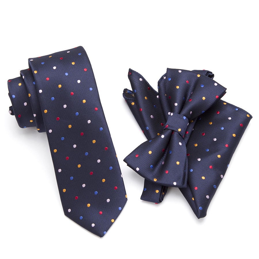 20 estilo Pescoço Gravata Gravata borboleta Gravata Set, Skinny tie set, conjunto quadrado de bolso, gravata dos homens, casamento laços, laços de Poliéster Preto Dot moda mens
