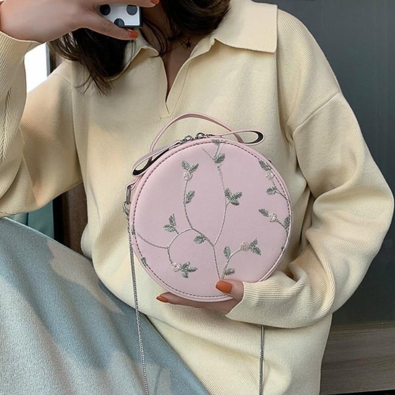 Della E Borsa Pink Coreano Del Circolare Estate Piccolo Bag light Di Signora Semplice Crossbody Modo Merletto Gray white Catena Sacchetto Spalla f6Twqz