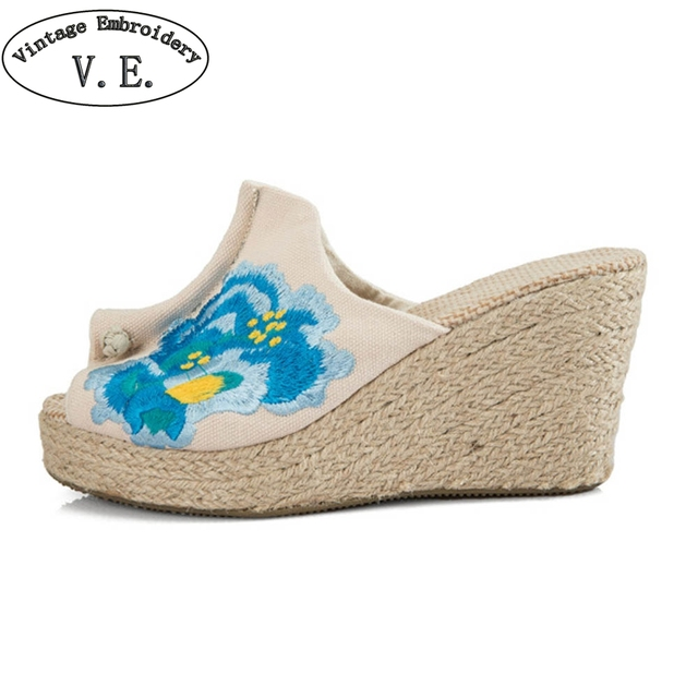 fb0a9af096953 Vintage Embroidery Women High Heel Peep Toe Slippers Blue Floral  Embroidered White Wedges Sandals Elegant Ladies Summer Sliders