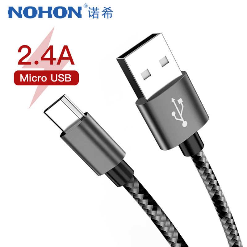 NOHON سريع شحن كبل مزامنة المصغّر usb لسامسونج غالاكسي S7 لهواوي ل Xiaomi Redmi الروبوت الهاتف الإضاءة كابلات شحن