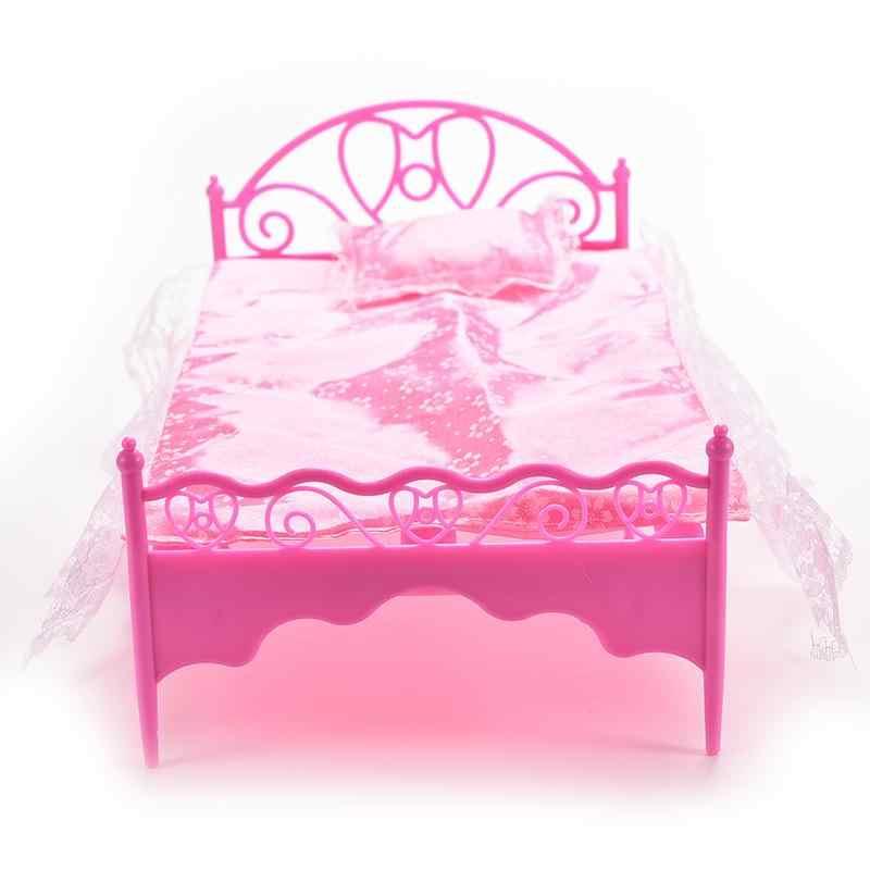Rosa Casa De Bonecas Mobiliário Dollhouse Mobília Do Quarto de Cama Sofá Cadeira Para Bonecas de Plástico Cabides/Fontes de Água/Aspirador de pó